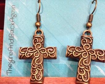 Bronze Swirl Cross Earrings