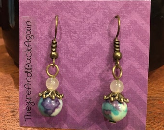 Purple&LightBlue Marbled Bead Earrings