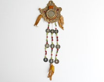 Vintage Asian amulet with coins, mirror and pearls / Cast Korean charm, lucky charm good luck boho tribal asia china