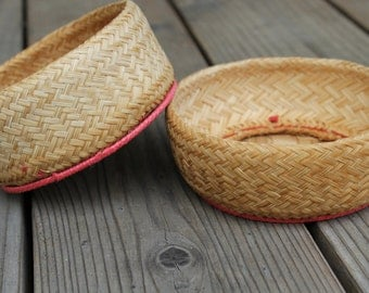 Small Woven Bohemian Style Catch-All Baskets - Set of 2