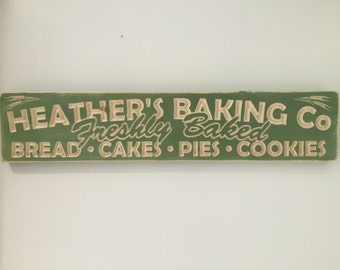 Personalised Carved Rustic Wooden Kitchen Baker Sign Plaque