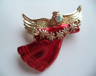 Fabulous Unsigned Silvertone/Red Angel holding String of Flowers Brooch/Pin