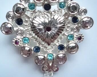 Vintage Signed Danecraft Silvertone/Rhinestone Heart Brooch/Pin
