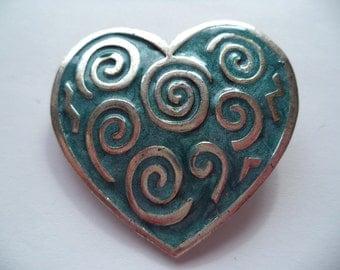 Vintage Signed Newpro Silvertone/Blue Swirl HeartBrooch/Pin