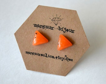 Triangle Polymer Clay Billow Stud Earrings