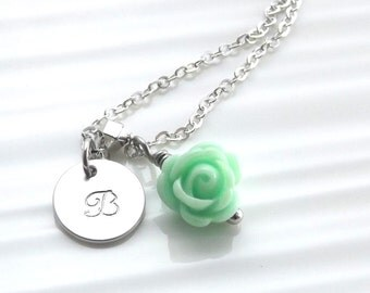 Personalized childrens necklace, personalized flower girl necklace, children's initial necklace, silver flower girl necklace