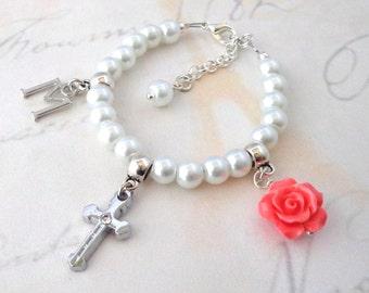 Personalized christening gift, baptism gift, flower girl bracelet, first communion gift, kids jewelry, wedding jewelry