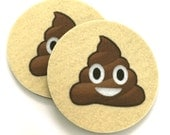 Pile of Poo Emoji Car coasters for your cars cup holder - Set of two super absorbent Car Coasters - Free Shipping - Smiling Poop Emoji