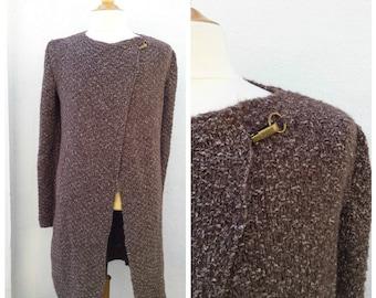Long brown mohair and wool men's cardigan, men's knit cardigan, knit cardigan, men's cardigan, brown cardigan,mohair cardigan, long cardigan