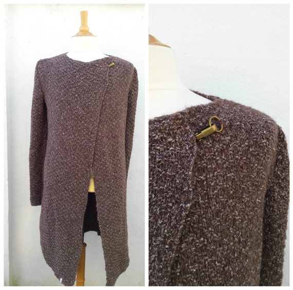 Long brown mohair and wool men's cardigan men's knit