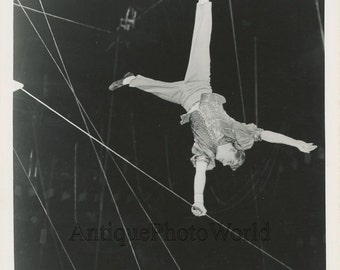 Ringling Bros. circus acrobat Linares in action antique photo
