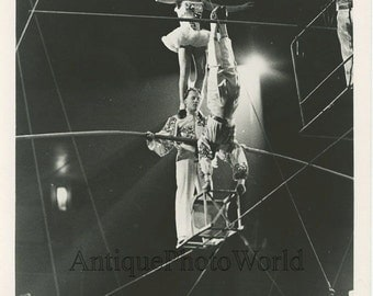 Circus balancing wire act vintage photo