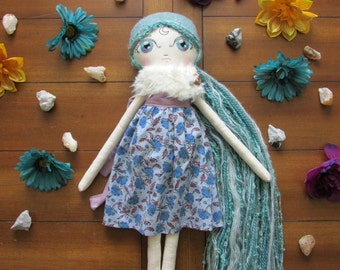 "Luna Doll with Green/ Blue Hair and Floral Dress ""Maeve"""