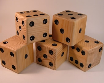 Five Natural Finished Wooden Lawn Dice ** Set of 5, Lawn Dice**