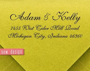 CUSTOM ADDRESS STAMP, personalized pre inked address stamp, pre inked custom address stamp, wedding stamp with proof - calligraphy RC6-1
