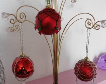 Red beaded handmade Christmas bauble