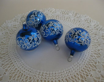 Vintage Set of Four Blue Christmas Ornaments with White Crystal Glitter Accent - Miniatures - Made in Poland
