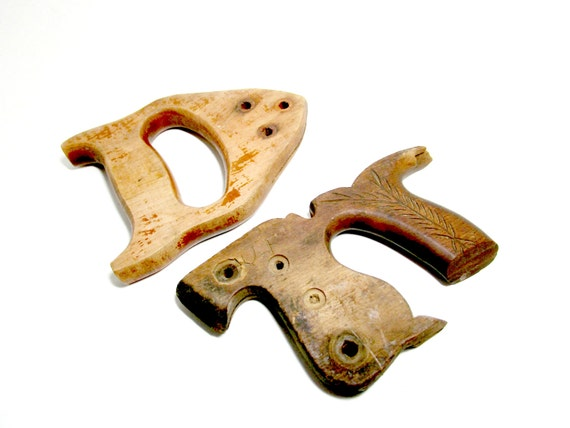 Vintage Saw Handles,  Set of 2 Wooden Saw Handles, Hand Saw Handles, Primitive Rustic Industrial Tools Decor