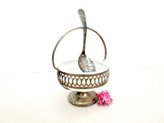 Vintage Condiment Dish Bowl with Hanging Spoon, Silver Plate Jelly Dish, Mustard Dish, Shabby Distressed, Made in England