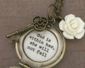 God is within her she will not fail Necklace locket brass key ivory rose