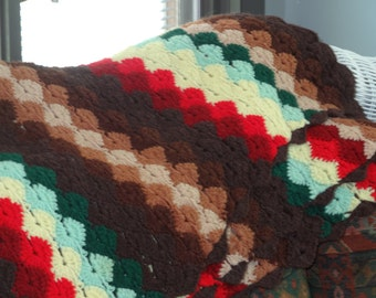Mad Men Madmen Don Draper crocheted afghan - very colorful - Just like the show!