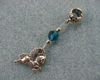 Dreadlock charm dangle with art deco pegasus and teal crystal