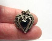 Vintage Sterling Silver Heart Locket Pendant MARCASITE  Onyx 15 mm  5 grams