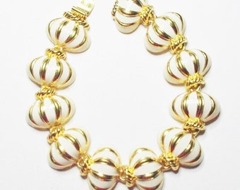 Joan Rivers Bracelet - Gold Tone with White Enameling - S1919