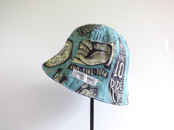cool baby sun hat skull surf board print blue summer hat