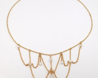 14K Victorian Natural Pearl & Diamond Festoon Necklace