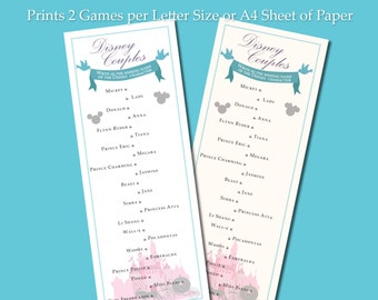 Disney Couples Game for Parties, Bridal Showers, Engagement Parties, Weddings and More!