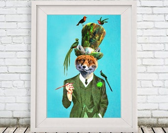 Fox with birds-Poster ArtPrint Illustration Acrylic Painting fox print Animal Painting Wall Decor Wall hanging Wall Art gift for men man him