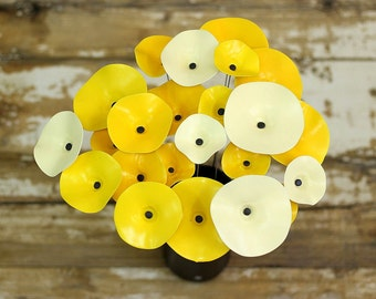 Outdoor Lawn Flower / Yellow Ceramic Flowers / Bright & Cheerful Garden Decor / Patio Decoration / Flower Stem / Painted Artificial Flowers