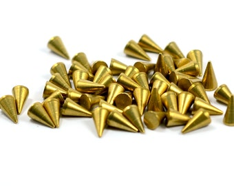 100 Pcs Raw Brass 4x7 mm Pasted Spike , Connectors Spike