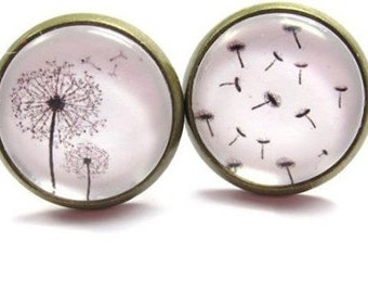 Dandelions travel glass cabochon earrings