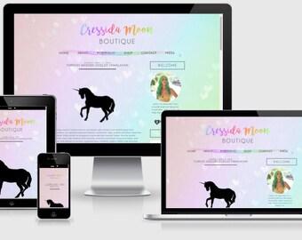 Rainbow Premade Blogger Template, Watercolor Blogger Template, Rainbow Blog Design, Responsive Blogger Template, Cute Heart Blog Template