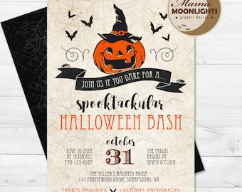 SPECIAL HALLOWEEN SALE - Halloween Party Invite with Back Printable - Spooktackular Halloween Bash Invitation - Vintage Pumpkin Spider Web