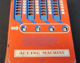 Adding Machine Vintage 1940's Wolverine Finger Slot Kids Calculator Learning Tool