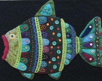 Fishy, Fish Art, fabric art,  quilt art, quilted wall hanging, home decor