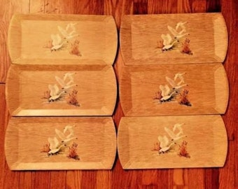 Six Vintage Coronet Wooden Trays Haskelite Manufacturing Lithograph Swan Print