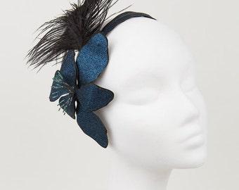 Glitter Flower Headpiece with feathers in Dark Blue Cyan