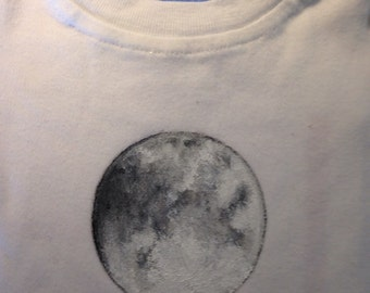 Baby Onesie Full Moon Design Hand Painted sizes 3 mon to 18 mon