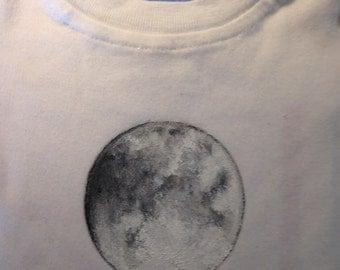 Baby Onesie Full Moon Design Hand Painted sizes 3 mon to 18 mon