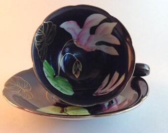 Princess China - Teacup and Saucer Occupied Japan-Iris Flower c1945-52