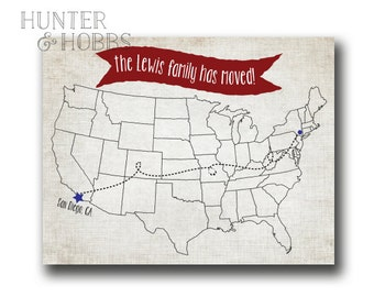 Map Moving Announcement Change of Address - cross country move - united states - america - roadtrip