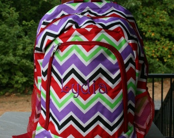 Monogrammed Girls Backpack Multicolor Chevron Girls Bookbag Red Trim