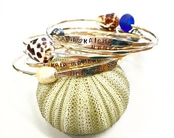 Gold fill or sterling silver hand stamped hammered bangles