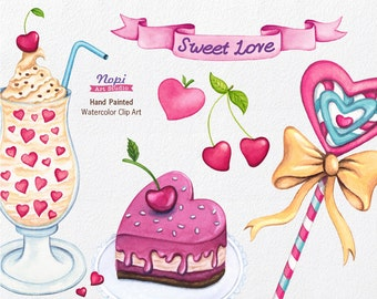 Food Sweets Clip art, Watercolor Birthday Summer Clip art, Hearts, Cherries, Lollipop, Hand painted Banner, Ice Cream Desserts, DIY Party