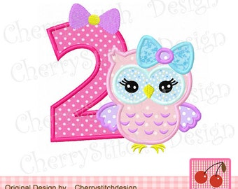 Owl number 2 Birthday Machine Embroidery Applique Design-4x4 5x5 6x6 inch-