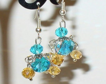 Elegant earrings Orient blue sand